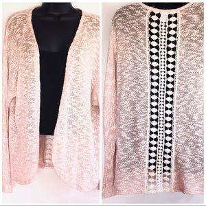 Sweaters - Peachy Oatmeal Back Crochet Detail Cardigan